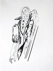 Hip Priest Manager Sculpture, Open Ateliers Plantage Weesperbuurt, 2010. Ink on paper (32 x 24cm)