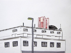 NS, National Railway Head Office, Utrecht, 2010. Ink and graphite on paper (24 x 32cm)
