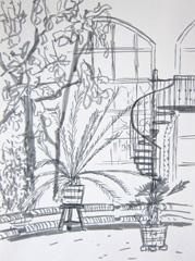 Palmen Kas, Hortus Botanicus, 2010. Ink on paper (32 x 24cm)
