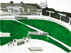 Racetrack Coral Romford Greyhound Stadium, 2011. Marker, oil pastel on paper (24 x 32cm)