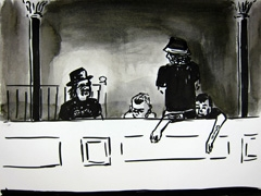 Crew, Squidling Brothers Circus Sideshow, 2011. Ink on paper (24 x 32cm)