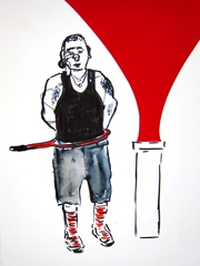 Tennis Racket Act, Squidling Brothers Circus Sideshow, 2011. Ink and collage on paper (32 x 24cm)