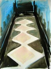 Grand Vista, Battersea Park V2, 2008. Water soluble oil on paper (32 x 24cm)
