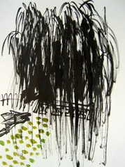 Willow, Dulwich Park, 2008. Ink and water soluble oil on paper (32 x 24cm)