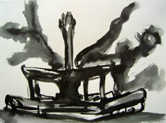 Fountain, Wertheim Park, 2008. Ink on paper (24 x 32cm)