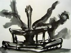 Fountain, Wertheim Park, 2008. Ink on paper (24 x 32cm)