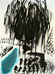 Weeping Willow, Dulwich Park V2, 2008. Ink and water soluble oil on paper (32 x 24cm)