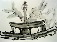 Fountain, Wertheim Park V2, 2008. Ink on paper (24 x 32cm)