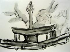 Fountain, Wertheim Park V2, 2008. Ink on paper (24 x 32cm)