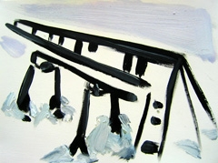 Toronto Centre Island Pier, 2008. Water soluble oil on paper (24 x 32cm)