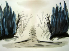 Zorgvlied Cemetery V2, 2008. Water soluble oil on paper (24 x 32cm)
