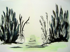 Zorgvlied Cemetery V3, 2008. Water soluble oil on paper (24 x 32cm)