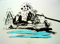 Island, Battersea Park, 2008. Ink and water soluble oil on paper (24 x 32cm)
