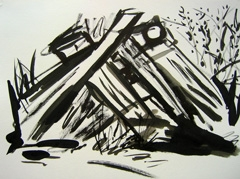 Green space, Artis Zoo parking lot, 2008. Ink on paper (24 x 32cm)