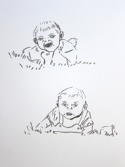 Charlotte And Emily Hinch Twins, Identity: Eight rooms, nine lives, Wellcome Collection, 2010. Marker on paper (32 x 24cm)