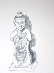 Medicine Now, Permanent Exhibition, Wellcome Collection, 2010. Marker on paper (32 x 24cm)
