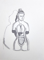 Medicine Now V2, Permanent Exhibition, Wellcome Collection, 2010. Marker on paper (32 x 24cm)