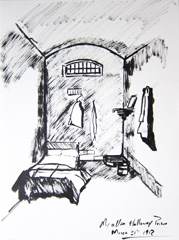 My Cell In Holloway Prison 1912, Race And Prejudice, Identity: Eight rooms, nine lives, Wellcome Collection, 2010. Marker on paper (32 x 24cm)