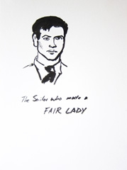 The Sailor Who Made A Fair Lady, April Ashely Born George Jamieson, Identity: Eight rooms, nine lives, Wellcome Collection, 2010. Marker on paper (24 x 32cm)