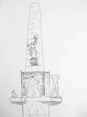 National Monument, Dam Square, 2009. Marker on paper (24 x 32cm)
