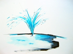 Fountain, Vondel Park, 2009. Ink and water soluble oil on paper (24 x 32cm)