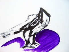 Bird, Cast Courts, V&A, 2009. Ink on paper (24 x 32cm)