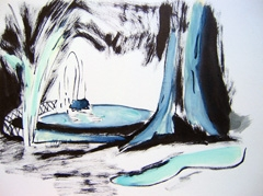 Park in Prague, 2009. Ink and watercolour on paper (24 x 32cm)