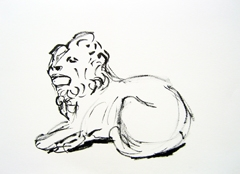 Lion, Cast Courts, V&A, 2009. Ink on paper (24 x 32cm)