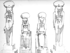 Sketch of Ancient Egyptian sculpture