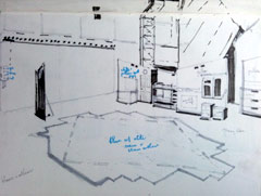 sketch of rehearsal room