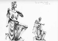 sketch of sculptures in V&A museum